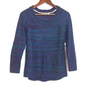 Roxy Crew Neck High Low Multi-color Sweater